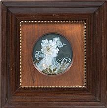 AUGUSTE RIFFATERRE   (1868-1935)   Médaillon en porcelaine polychrome à décor
