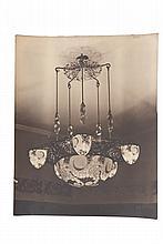 EDGAR BRANDT (1880-1960)  Lustres de Daum et objets divers.