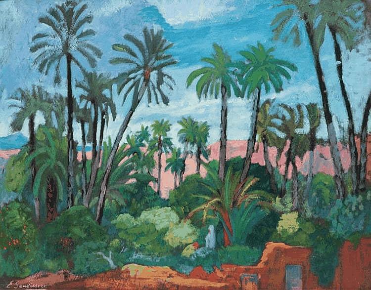 Emile GAUDISSARD (1872-1956) L'oasis. Huile sur carton. Signée en bas à gauche. 50 x 65,5 cm.