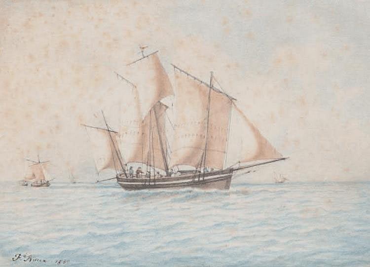 Frédéric ROUX (1805-1874) Bateaux en mer. Aquarelle. Signée et datée 1830 en bas à gauche. 20,5 x 29 cm.
