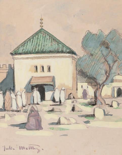 Gill-Julien MATTHEY (1889-1956) Place animée. Gouache. Signée en bas à gauche. 19,5 x 16 cm.
