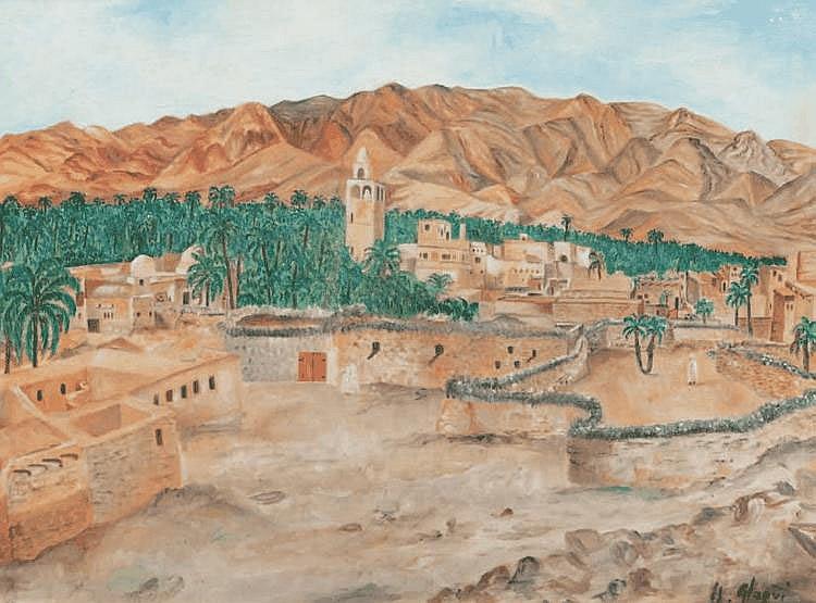 Hassan EL GLAOUI (1924) Village marocain. Huile sur panneau. Signée en bas à droite. 50 x 66 cm.