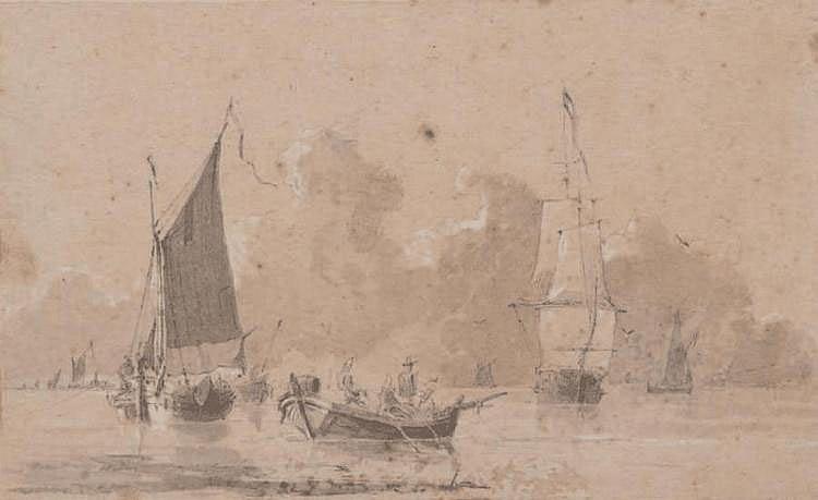 Ecole du nord du XVIIe siècle Bateaux en mer. Lavis d'encre. 16,5 x 27,5 cm.