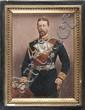 Ecole allemande du XIXe siècle. Portrait du Tsar Nicolas II en uniforme d'amiral. Huile sur panneau. 13 x 9,5 cm.