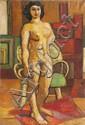 Louis LATAPIE (1891-1972) Jeune femme. Huile sur toile. Signée en bas à droite. Datée 32 au dos. 73 x 50 cm.