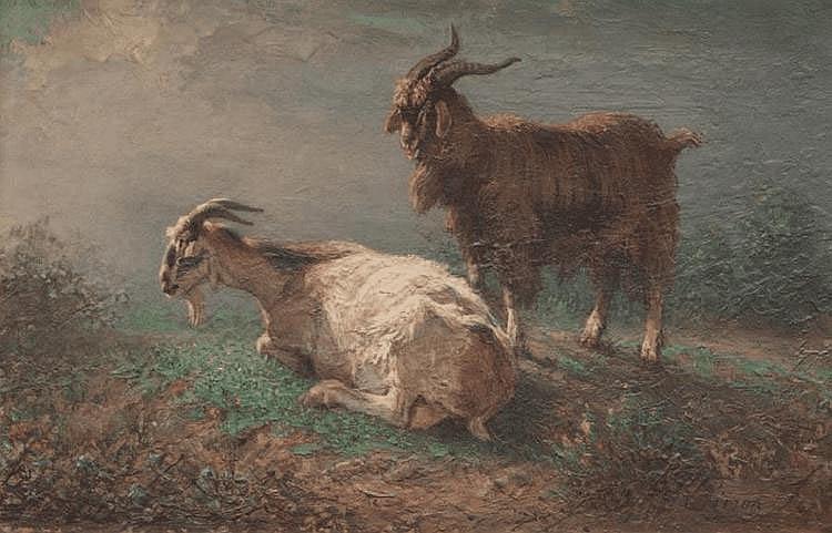 François SIMON (1818-1896) Bouc et chèvre. Huile sur panneau. Signée en bas à droite. 24 x 32 cm.