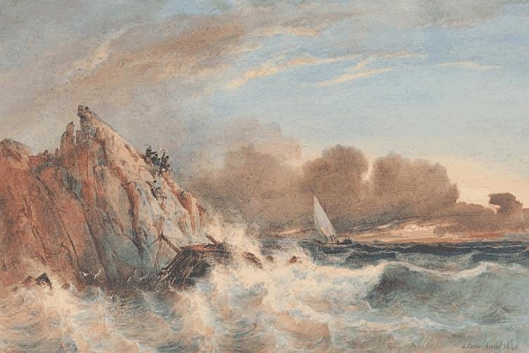 Vincent COURDOUAN (1810-1893) Naufragés sur les rochers. Aquarelle. Signée et datée 1849 en bas à droite. 20 x 30 cm.