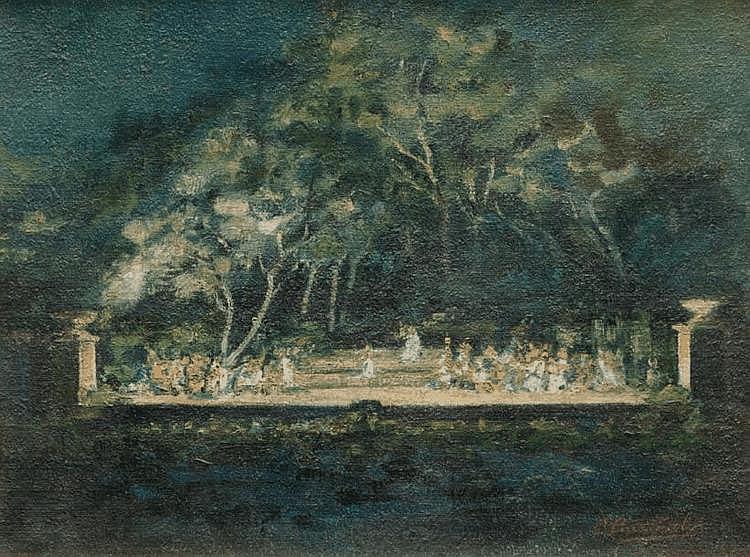 Marius BARTHALOT (1861-?) Le théâtre Sylvain. Huile sur toile. Signée en bas à droite. 46 x 60 cm.