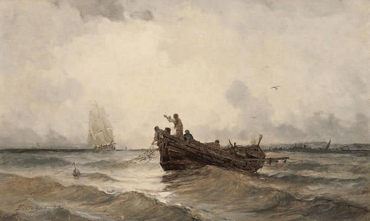 Paul BISTAGNE (1850-1886) Pécheurs relevant leur filet. Huile sur toile. Signée en bas à droite. 40 x 65 cm.