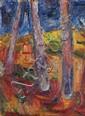 Richard MANDIN (1909-2002) Arbres aux terres rouges. Huile sur papier marouflée sur carton. Signée et datée 1949 en bas à gauche. 63 x 48 cm. Bibliographie : Richard Mandin, catalogue raisonné, Masquin Plasse répertorié sous le numéro PA036.