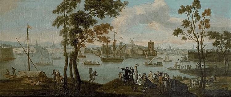 Ecole française vers 1820, suiveur de Joseph VERNET L'entrée du port de Marseille. Toile. 68 x 157 cm. Notre vue est une reprise avec variantes du tableau peint par Joseph Vernet en 1754 et exposé au Salon de 1755 (voir F. Ingersoll - Smouse, Joseph