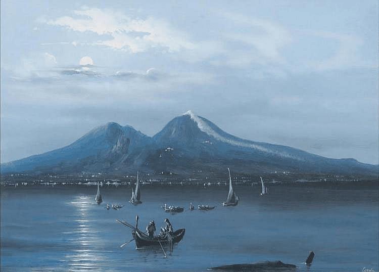 Augusto CORELLI (1853-1910) Veduta da mare da note Torre del Greco. Gouache. Signée. 26 x 37 cm.