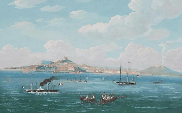 Ecole napolitaine du XIXe siècle Veduta di Napoli d'a mare. Gouache. 46,5 x 69,5 cm.