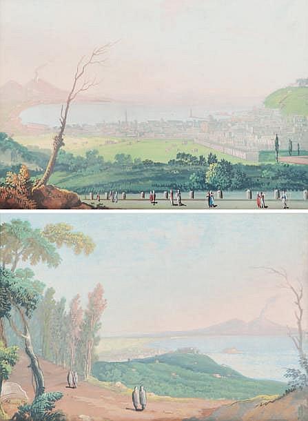 BERRIN (XIXe) Vesuvio veduto da soto il monte / Carmine veduto da soto il monte. Paire de gouaches. Signées et datées 89 en bas à droite. 20 x 29 cm.