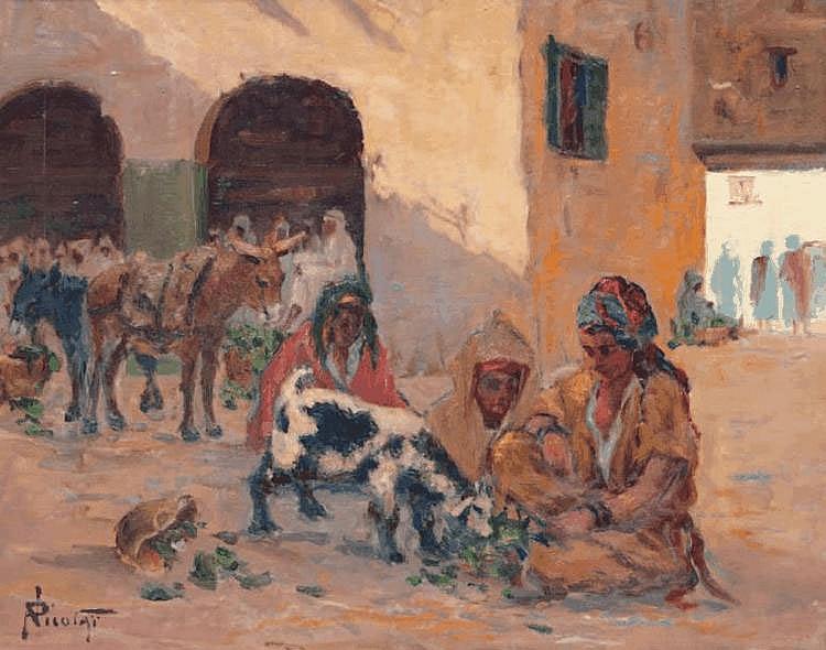 Paul NICOLAI (1876-1948/52) Scène de marché orientaliste. Huile sur panneau. Signée en bas à gauche. 33 x 40,5 cm.