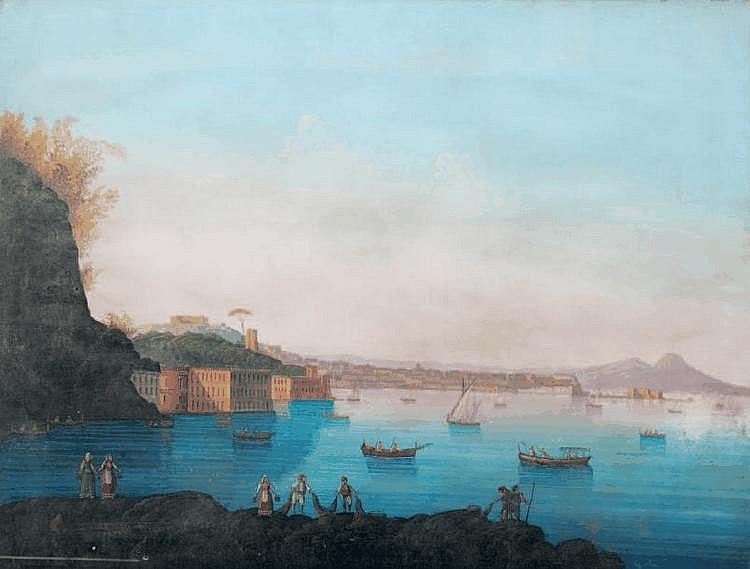 Ecole napolitaine du XIXe siècle Napoli dal mare. Gouache. Trace de signature en bas à gauche. 63 x 80 cm.