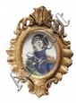 Ecole française du XXe siècle. Portrait du Roi Bernadotte de Suède. Miniature sur ivoire. 7,7 x 6,2 cm.