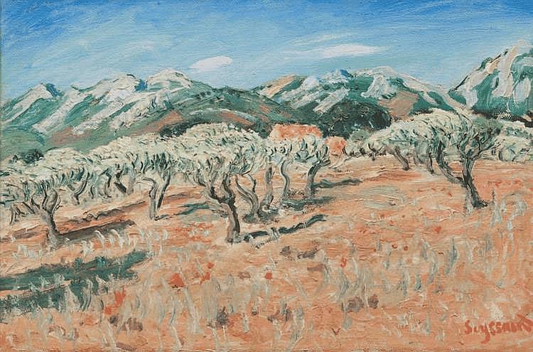 René SEYSSAUD (1867-1904) Les Alpilles. Huile sur toile. Signée en bas à droite. 55 x 46 cm.