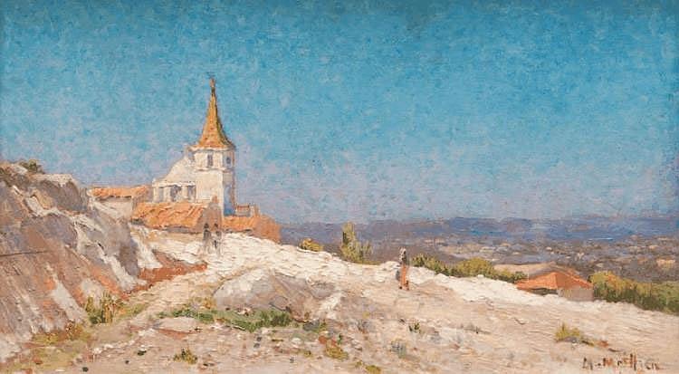 Marius MEIFFREN (1855-?) Paysage de Provence. Huile sur panneau. Signée en bas à droite. 24 x 41 cm.