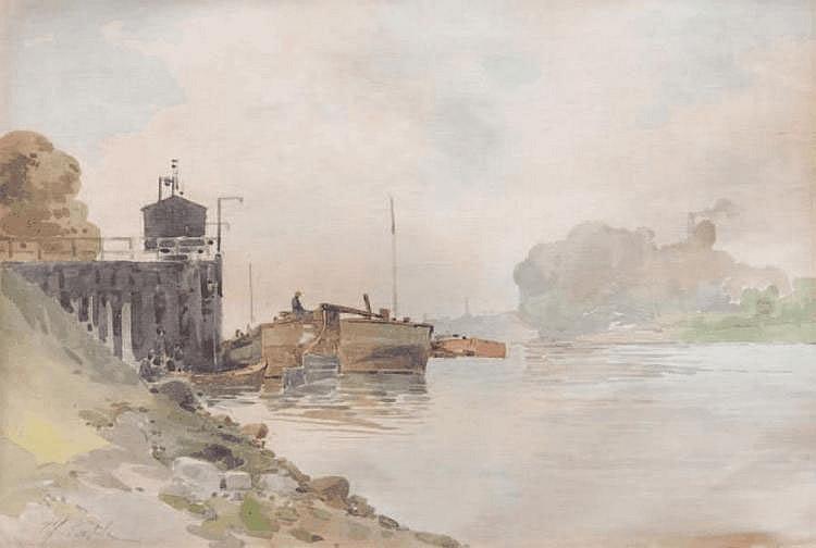 Alfred CASILE (1848-1909) Bord de rivière. Aquarelle. Signée en bas à gauche. 25,5 x 35 cm.