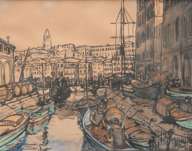 François Marius BERTHET (XIXe-XXe) Le canal de la Douane à Marseille. Aquarelle. Signée, titrée et datée 1926 en bas à gauche. 29,5 x 36 cm.
