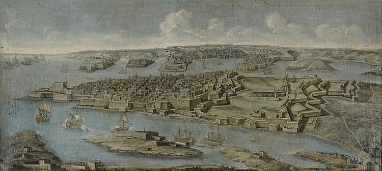 Giuseppe GUERRA (?-1761) Attribué à Vue panoramique de La Valette, Malte. Toile. 92 x 207 cm. Nous pouvons rapprocher notre tableau d'une vue panoramique similaire, Malte : Le grand port de La Valette, appartenant à la Wallace Collection de Londres,