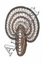 Masque d'igname Abelam, Papouasie Nouvelle Guinée. Coiffe en vannerie de type anthropozoomorphe lié au culte de l'Igname. Vannerie, polychromie rouge, blanche et noire. H. : 43 cm. Provenance : Acheté à Sydney à la galerie Bill Evans en 1997.