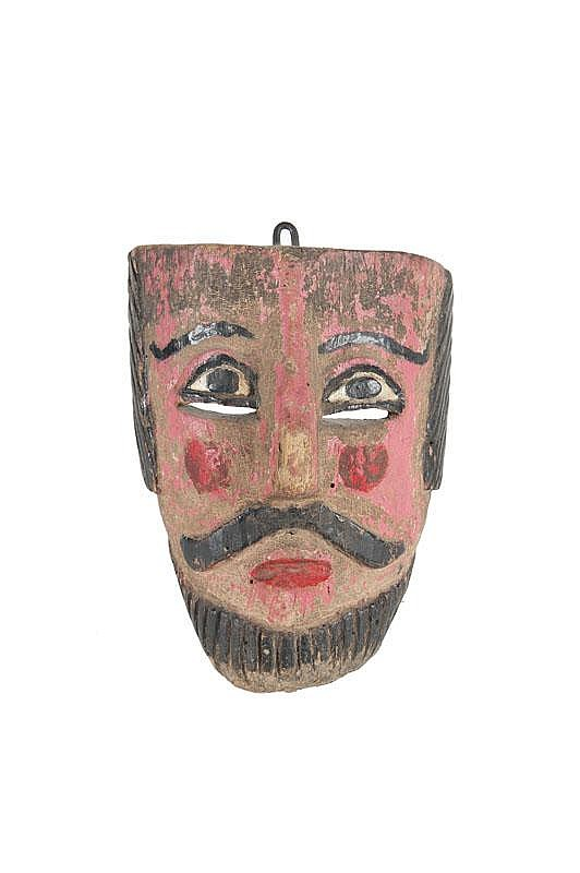 Masque dit de « danseur mondain » Mexique, état de Guerrero ( ?). Bois et pigments de couleurs. H. : 25 cm. env. « Ancienne collection François Reichenbach (1921-1993), une des plus importante collection d'art populaire du Mexique, aujourd'hui