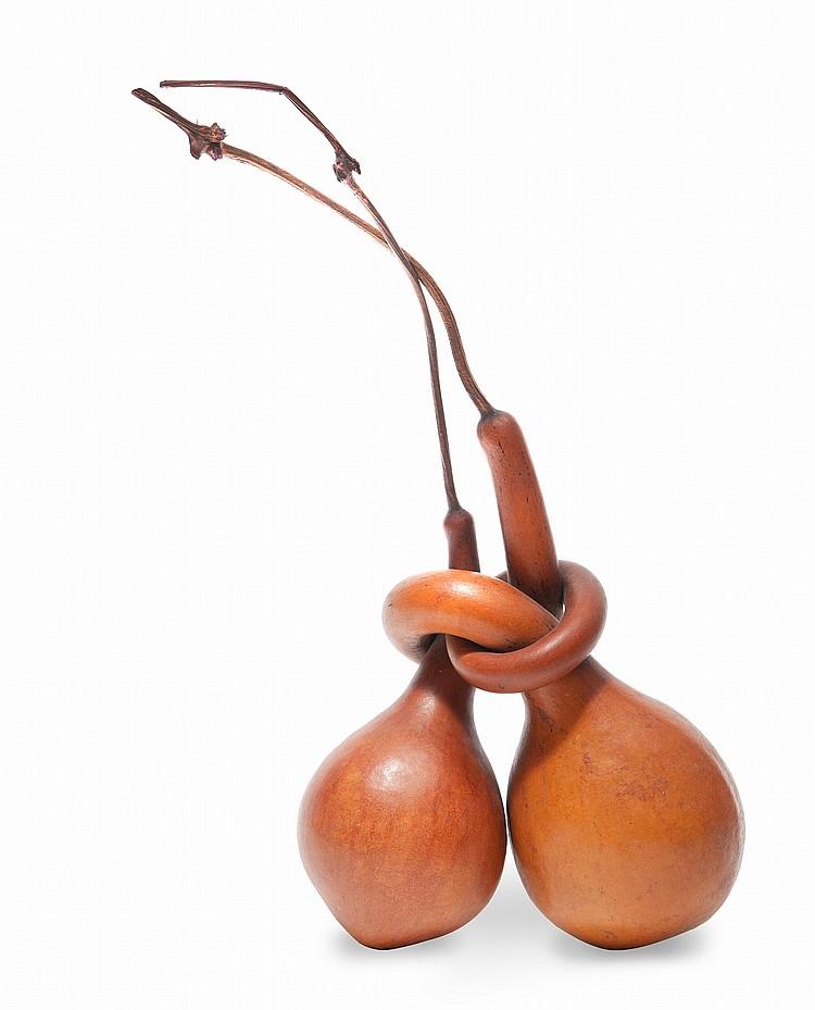 Double calebasse nouées  Chine, dynastie Qing.  Les deux calebasses imbriquées et nouées pendant leur  croissance.  H. : 26 cm.