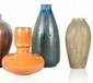 Ensemble de trois vases en céramique vernissée circa 1920 dont un signé grès J-T. H. : 22 à 30 cm.