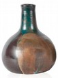 Léon POINTU (1879-1942) Vase de forme pansue à col droit en grès à coulure verte sur fond marron nuancé. Signé. H. : 22 cm.