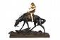 Edouard Drouot (1859-1945) Indien à cheval. Groupe en bronze polychrome et ivoire. Signé, fonte Etling-Paris. Accidents. H. : 54 cm. L. : 64 cm. H. : 17 cm.