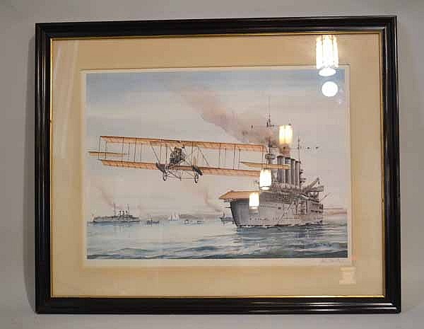 JOHN T. MCCOY JR. (1905-?) 'Eugene Ely Taking Off From USS Pennsylvania', color lithograph, pencil signed John T. McCoy Jr. Published 1958 by Frost & Reed. Contained in matted ebonized frame under glass. Condition: no visible defects. Dimensions: 17