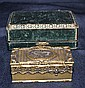 TABATIERE SINGING BIRD BOX. Tabatiere a Oiseau chanteur, singing bird snuff box with presentation case. French gilt metal mechanical bird box, neoclassical style decoration, oval hinged lid top decorated with musical cartouche opens to reveal