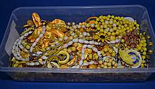 BOX OF YELLOW TONE COSTUME JEWELRY  All jewelry sold as is.