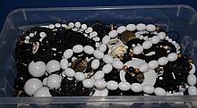 BOX OF BLACK AND WHITE COSTUME JEWELRY  All jewelry sold as is.