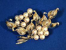 STERLING AND CULTERED PEARL BROOCH  Sterling Floral Brooch with cultured Pearl Clusters. 2 1/2L. Condition all jewelry sold as is.