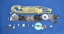 DYED MOTHER OF PEARL NECKLACE 3PIECES. Lot includes; (1) black and white mother of pearl necklace. (1) pale yellow mother of pearl necklace. (1) blue mother of pearl necklace. Condition: all jewelry sold as is.