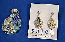 SAJEN STERLING, GEMSTONE AND MOTHER OF PEARL PENDANT AND EARRINGS LOT. Original design by Marianna and Richard. Lot includes; Pendant. Marked: Sajen 925. Size; 2''L plus bezel. Pierced earrings. Marked; Sajen 925. Size; 1 3/8''L. Condition: all