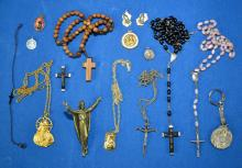 ASSORTED RELIGIOUS LOT - includes crucifixes, medals and pendant necklaces - Condition: Age appropriate wear; All items sold as is.