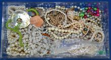 BIN LOT PEARL COSTUME JEWELRY - Condition: Age appropriate wear; All items sold as is.