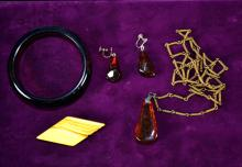 4pcs ASSORTED AMBER, SILVER AND BAKELITE JEWELRY - includes (1) pair Amber earrings, pendant with silver chain, bangle and Bakelite pin - Condition: Age appropriate wear; All items sold as is.