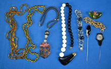 9pc ASSORTED COSTUME JEWELRY - gold and silver tone, some gold filled and Sterling - Condition: Age appropriate wear; All items sold as is.