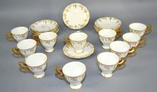 22pcs ROYAL CROWN DERBY DEMITASSE CUPS & SAUCERS - includes 11 cups and 12 saucers - Condition: Age appropriate wear; All items sold as is.
