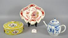 (3) CHINESE INSPIRED CERAMICS - to include Chamberlains dish, etc - Condition: Age appropriate wear; All items sold as is.