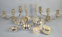 TRAY LOT OF VARIOUS SILVER PLATE HOUSEHOLD ITEMS - including candleholders, teapot and more - Condition: Age appropriate wear; All items sold as is.