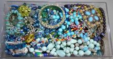 BIN LOT OF BLUE & GREEN TONE COSTUME JEWELRY - Condition: Age appropriate wear; All items sold as is.