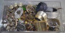 BIN LOT SILVER TONE COSTUME JEWELRY - Condition: Age appropriate wear; All items sold as is.