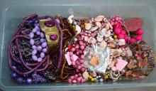 BIN LOT PINK TONE COSTUME JEWELRY - Condition: Age appropriate wear; All items sold as is.