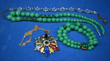 4pcs ASSORTED COSTUME JEWELRY - Including Czech, crystal, German and glass beaded necklaces and bracelet - Condition: Age appropriate wear; All items sold as is.